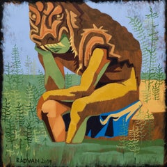 Hercules in the Swamp - 21st Century, Yellow, Green, Peaceful, Contemporary