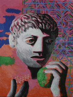 Honeycomb and Apple - Contemporary Art, Male, Figurative Painting, Green, Pink