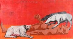 Imperator. Canis - Contemporary, Figurative Painting, Dogs, Human, Red, Myth