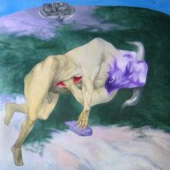 Incipit - 21st Century, Figurative Painting, Minotaur, Violet, Green, Bull