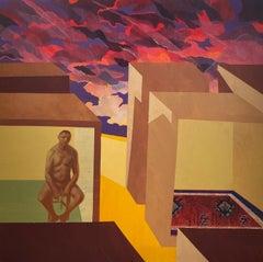 Man Feeling Uncertain - Contemporary Art, Yellow, Red, Solitude, Figurative Art