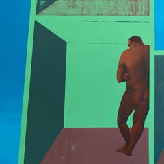 Man in His House - Contemporary Art, Green, Man, Human, Pandemic, 21st Century