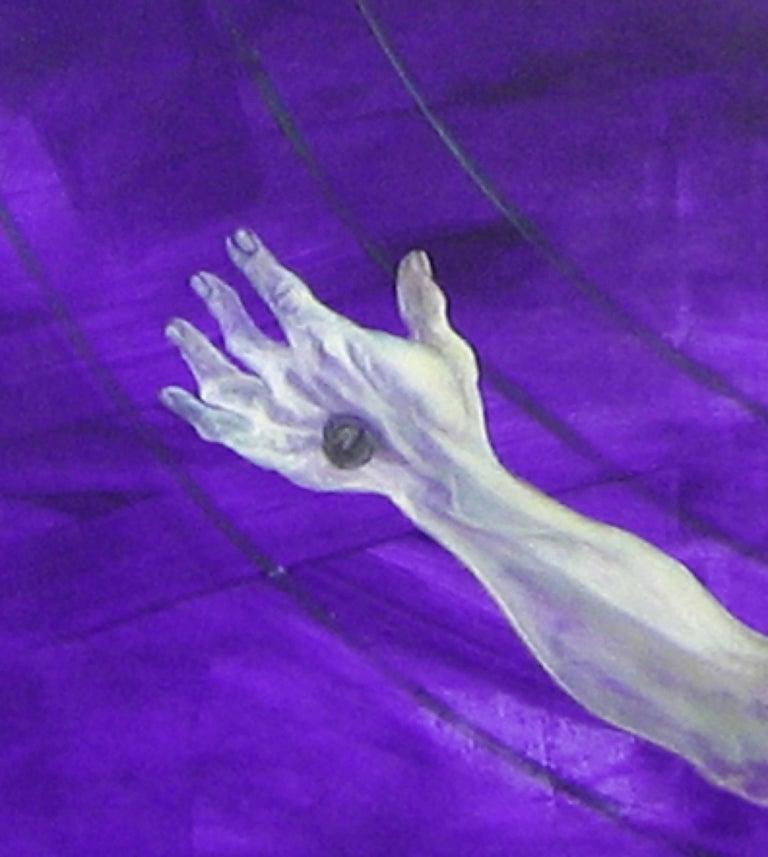 Néa kinonikón sistima - 21st Century, Figurative Painting, Violet, Acrylic For Sale 2