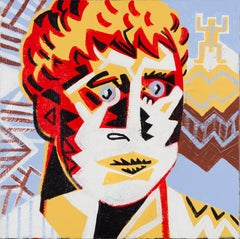 Portrait with totem - Contemporary, Figurative, Red, Yellow, Blue, Nude, Male