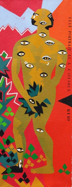 Self-portrait as a Cautious Hero - 21st Century, Red, Eyes, Human, Figurative