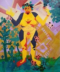 Self Portrait as a Super Ancient Goddess - 21st Century, Yellow, Green, Human