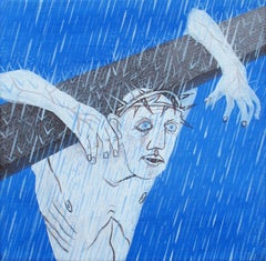Small Christ 3 - Contemporary Art, Figurative, Painting, Blue