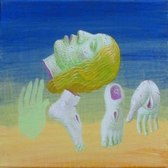 Small Christ 5 - Contemporary Art, Figurative, Painting, Divine, Blue, Green