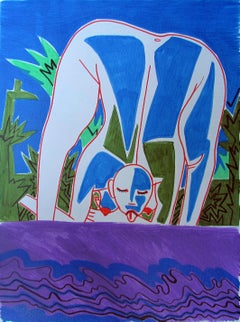 Strange women VIII - 21st Century, Figurative Art, Nude, Blue, Nature, Female