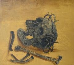 Sunday - Contemporary Art, Skull, Figurative Painting, 21st Century, Yellow