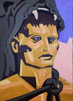 Sweating Hercules - 21st Century, Hero, Warrior, Lion, Yellow, Pink, Blue Eyes