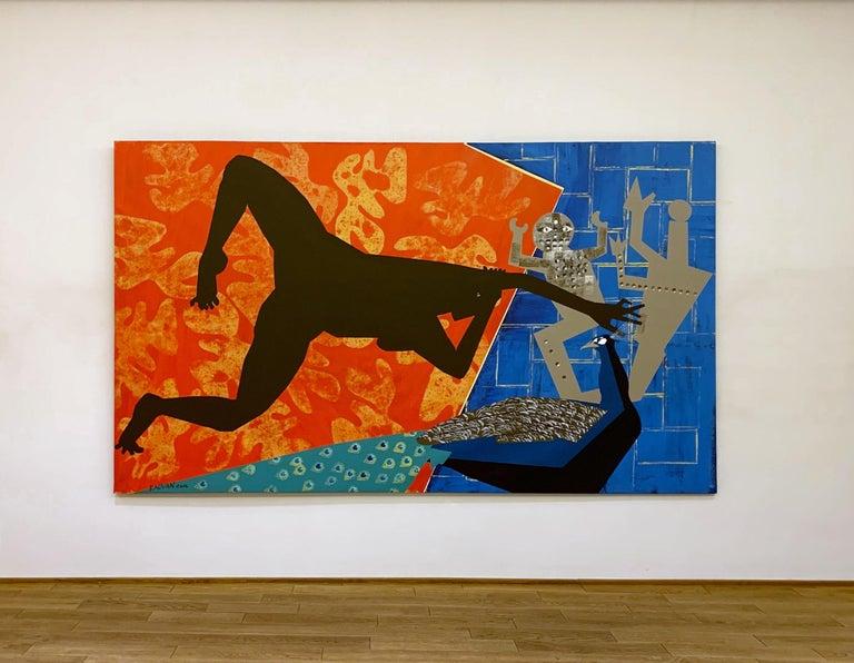 The Rite of Spring 2 - Contemporary, Peacock, Orange, Blue, Nude, Figurative Art For Sale 7