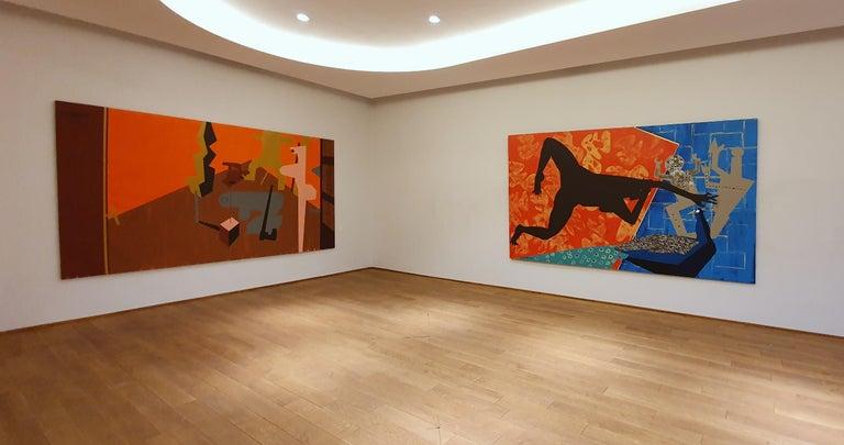 The Rite of Spring 2 - Contemporary, Peacock, Orange, Blue, Nude, Figurative Art For Sale 8