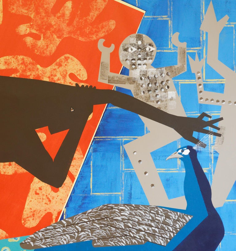 The Rite of Spring 2 - Contemporary, Peacock, Orange, Blue, Nude, Figurative Art For Sale 1