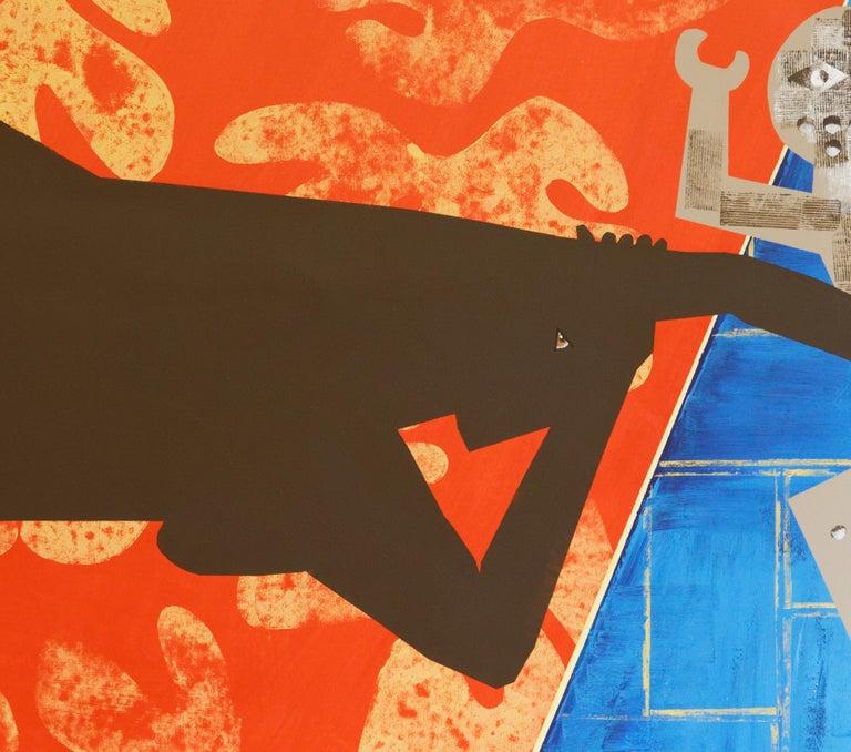 The Rite of Spring 2 - Contemporary, Peacock, Orange, Blue, Nude, Figurative Art For Sale 3