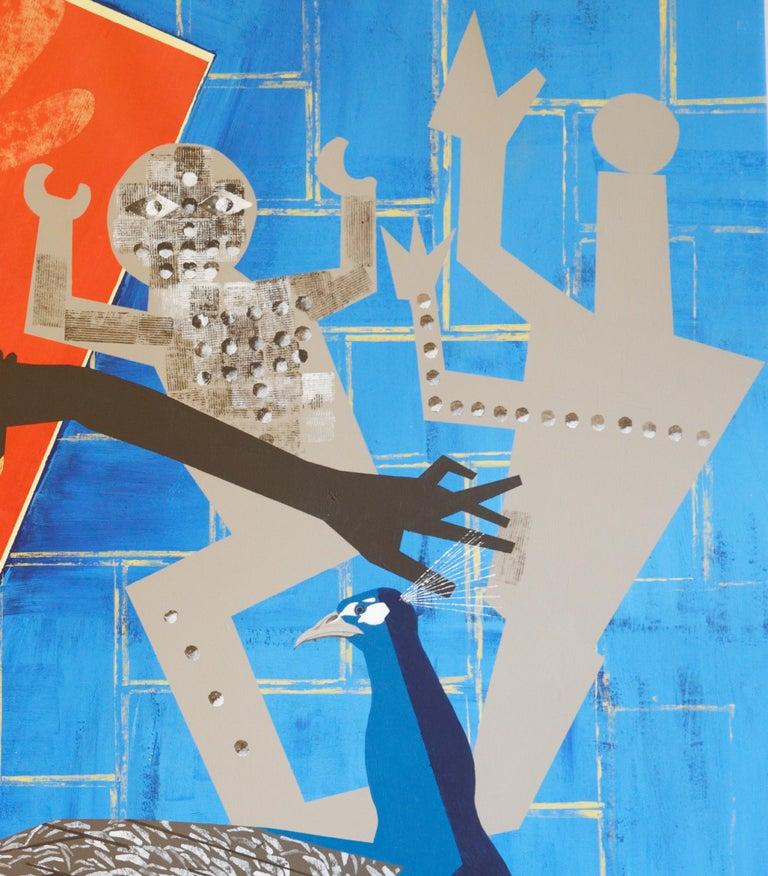 The Rite of Spring 2 - Contemporary, Peacock, Orange, Blue, Nude, Figurative Art For Sale 4