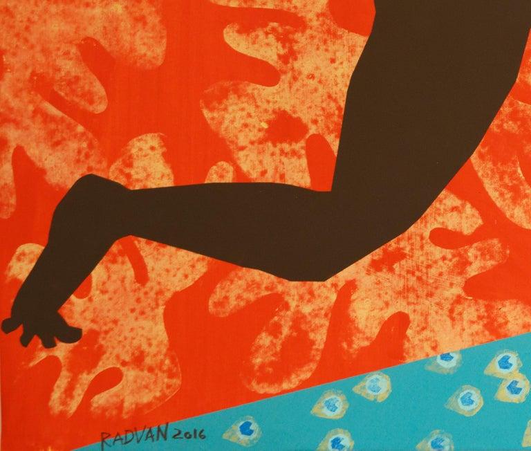 The Rite of Spring 2 - Contemporary, Peacock, Orange, Blue, Nude, Figurative Art For Sale 6