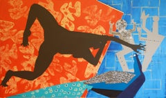 The Rite of Spring 2 - Contemporary, Peacock, Orange, Blue, Nude, Figurative Art