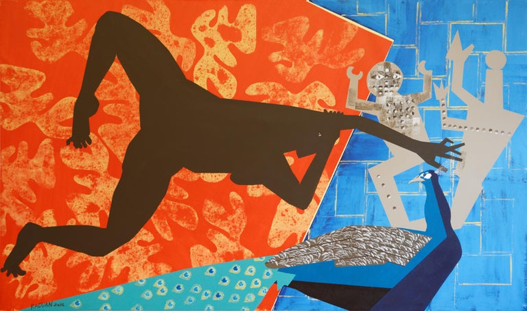 Alexandru Rădvan Figurative Painting - The Rite of Spring 2 - Contemporary, Peacock, Orange, Blue, Nude, Figurative Art