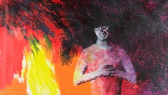 Two Friends - Contemporary, Red, Figurative Painting, 21st Century, Fire, Yellow