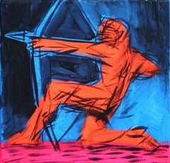 Ulysses I - Figurative Painting, Warrior, Arrow, Blue, Red, Small Size