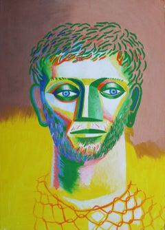 Untitled - Contemporary Art, Yellow, Green, Human Portrait, Male, 21st Century