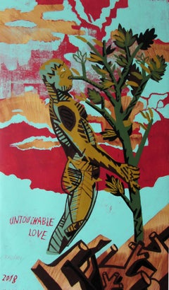 Untouchable Love - Contemporary, Figurative Painting, Male Nude, Red, Tree