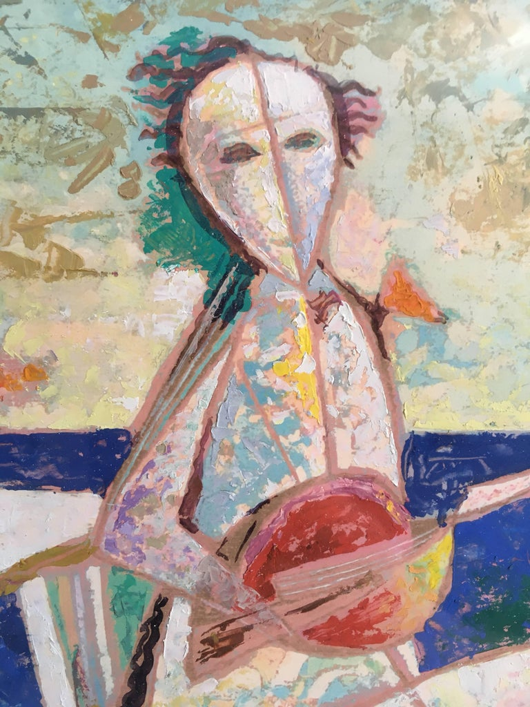 'Musicians' Surrealist Oil Painting of a Musician, Signed Oil Painting For Sale 1