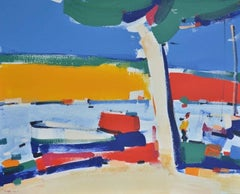 Embankment in Cassis (boats, sea port) - made in red, blue, yellow, green color