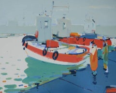 Fishermen (boats, sea port) - abstract seascape, made in blue, red, white color