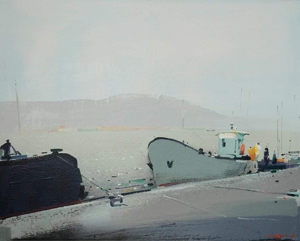 Morning at the port  (boats, sea port) - seascape made in grey, blue color