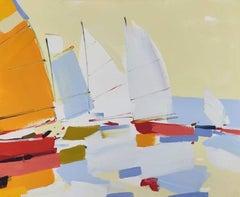 Regatta (boats, sea port) - abstract seascape, made in orange, yellow,blue color