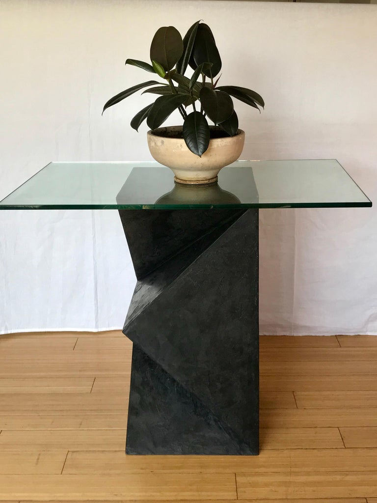 a nice occasional / accent art table wood with charcoal hue resin coating and glass top artist signed