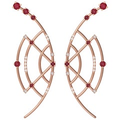 Interlocking Geometry Ruby and Diamond Rose Gold Earrings