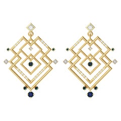 Alexia Gryllaki, Interlocking Geometry Sapphire and Diamond Gold Earrings