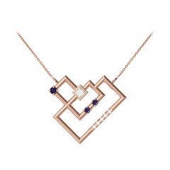 Interlocking Geometry Sapphire and Diamond Heart Pendant