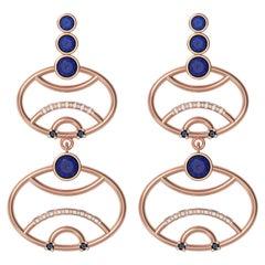 Alexia Gryllaki, Interlocking Geometry Sapphire and Diamond Rose Gold Earrings