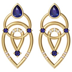 Alexia Gryllaki, Interlocking Geometry Sapphire and Diamond Yellow Gold Earrings