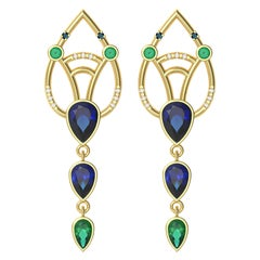 Interlocking Geometry Sapphire and Emerald Gold Earrings