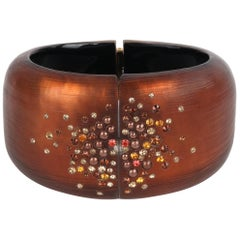 ALEXIS BITTAR Brown Plated 10K Gold Crystal Lucite Clamper Statement Bracelet