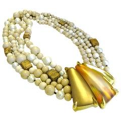 Alexis Bittar Desert Jasmine Torsade Mar Aqua Pearl Jasper Necklace