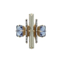 Alexis Bittar Gold-Tone & Periwinkle Cocktail Ring