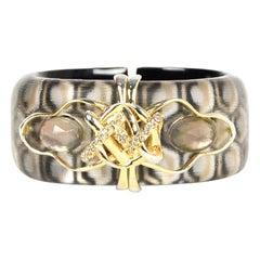 Alexis Bittar Grey/Brown Lucite Honeycomb Pattern Cuff Bracelet w/Crystals