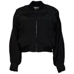 Alexis Black Bomber Jacket W/ Ruffle Pockets Sz S