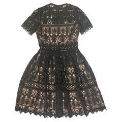 Alexis Black Lace Short Sleeve Lula Dress sz Small