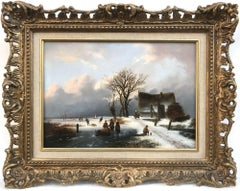 Villagers on a Frozen Waterway