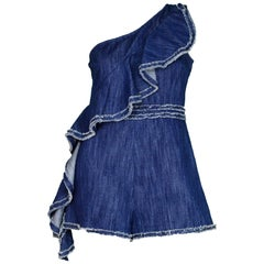 Alexis Denim One Shoulder Asymmetrical Ruffle Blakely Jumper/Romper Sz L NWT