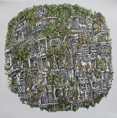 Biosphere, Buildings, Apartments, Animals, Trees, Imaginary, Acrylic, Painting,