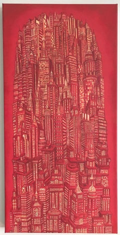 Red Tower, Buildings, NY, Architecture, Reimagined Metropolis, Acrylic, painting