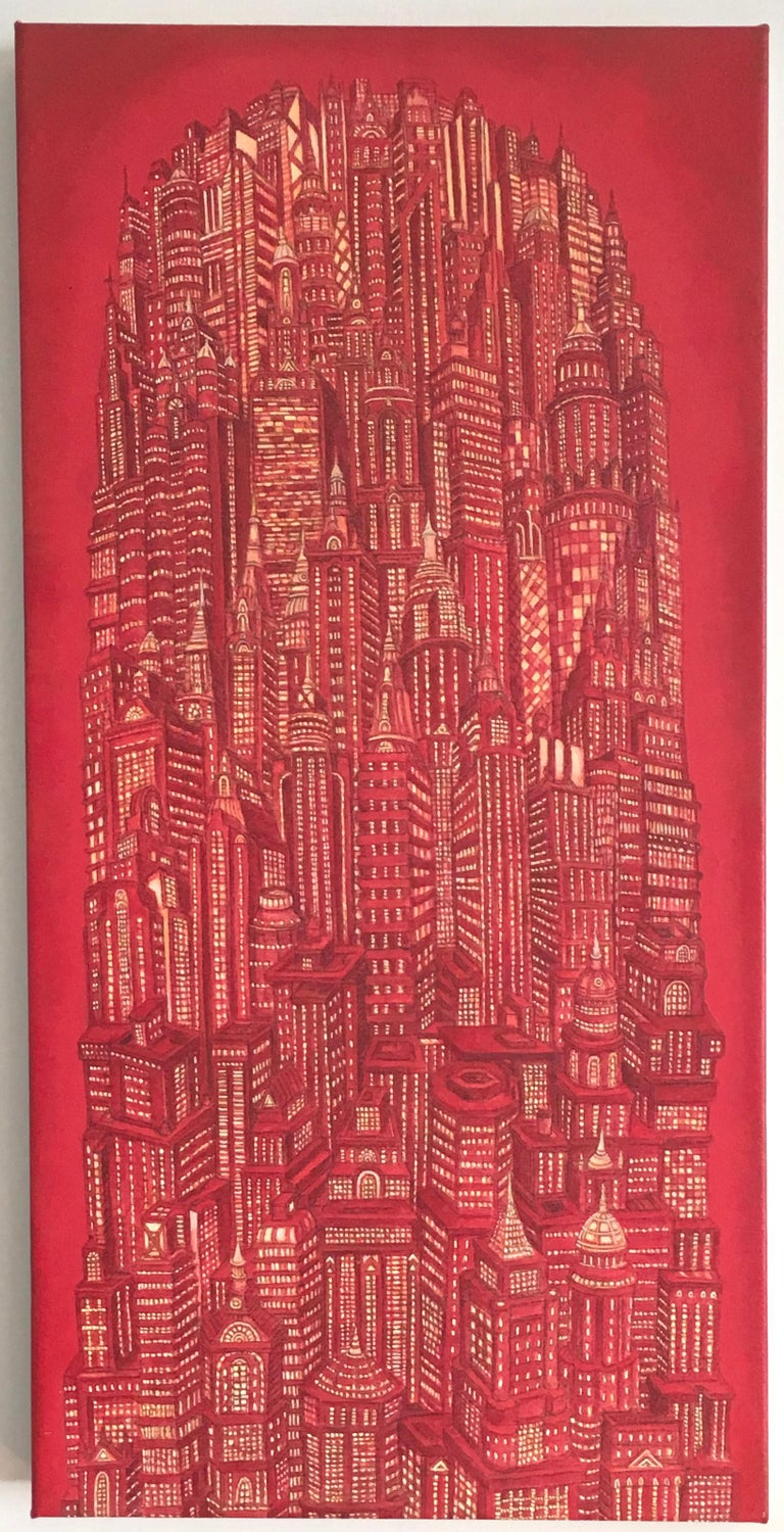 Alexis Duque Landscape Painting - Red Tower